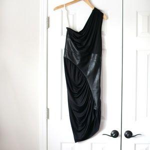Boston Proper black asymmetrical leather dress